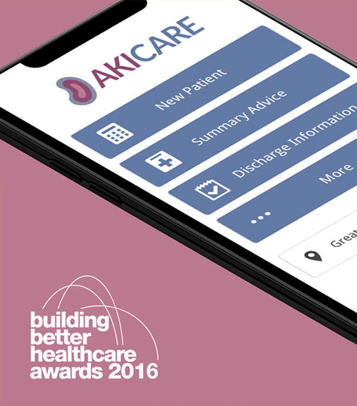 "Smartphone showing award winning Acute Kidney Injury Care app. AKI Care has won the ""building better healthcare awards 2016"""