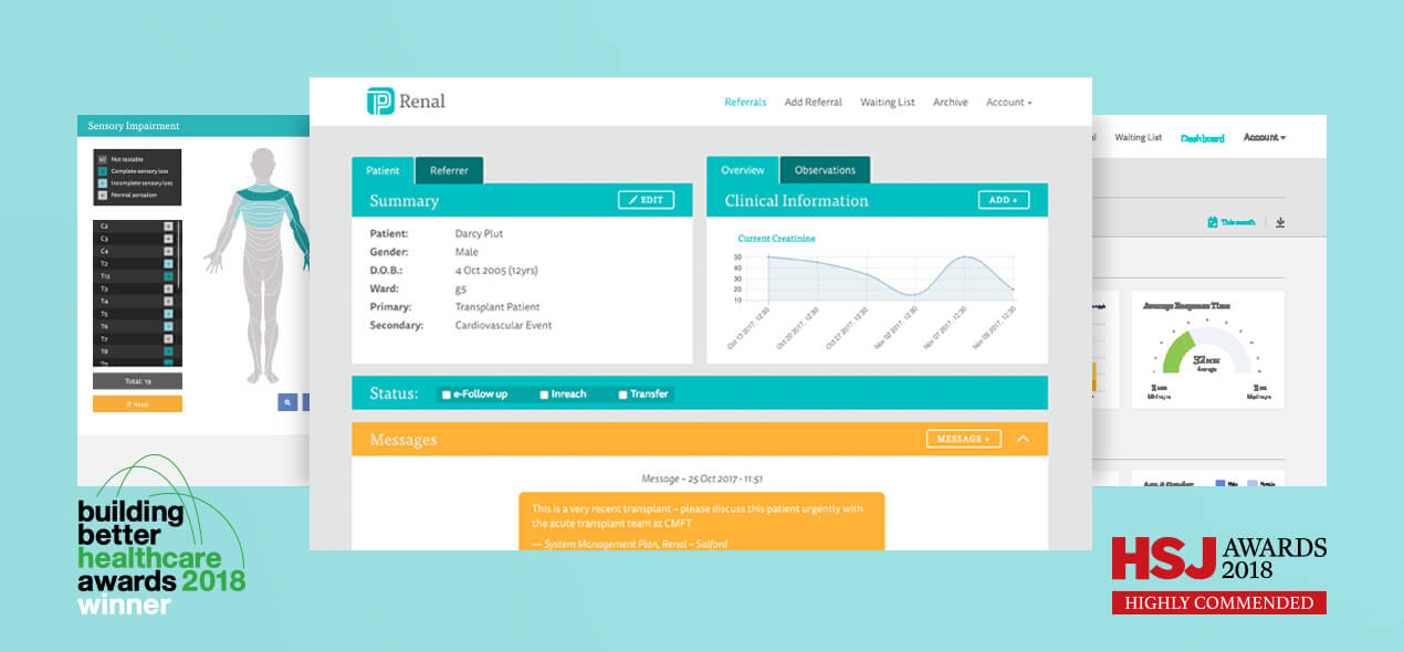 "Screenshots of different sections within Patient Pass. Patient Pass has won the ""building better healthcare awards 2018"" and was highly commended for the ""HSJ Awards 2018"""